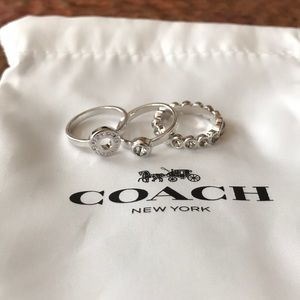 COACH Stackable Rings. Size 6. Silver. Set of 3.